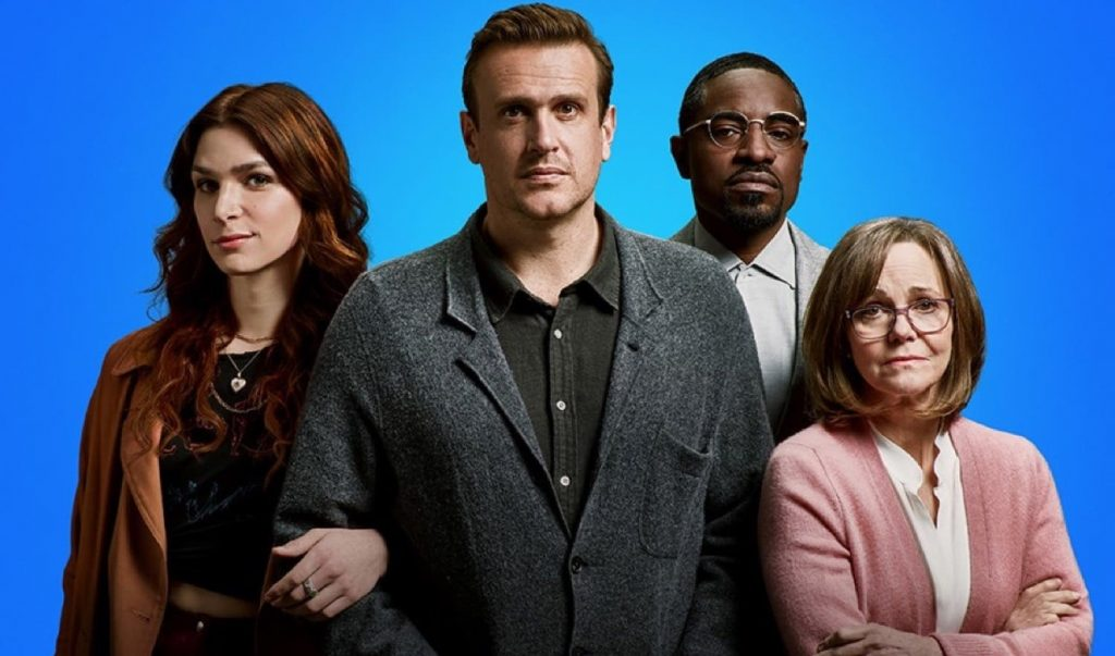 Simone (Eve Lindley), Peter (Jason Segel), Fredwynn (André Benjamin) y Janice (Sally Field). Dispatches from Elsewhere review